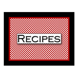 Gingham Check Red Black White Recipe Card Postcards