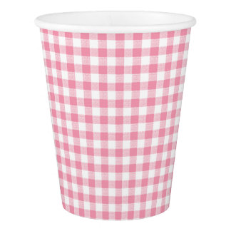 Gingham Check Small Pink Paper Cup