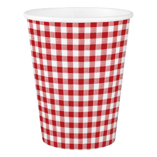 Gingham Check Small Red White Paper Cup