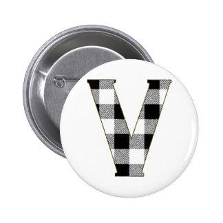 Gingham Check V Pinback Button