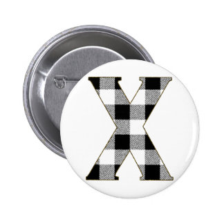 Gingham Check X Button