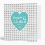 Gingham Checker and Heart Aqua 3 Ring Binder