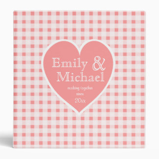 Gingham Checker and Heart Coral 3 Ring Binder