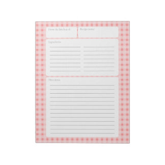 Gingham Checker Recipe Page with Color Option Notepad