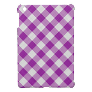 gingham checkered pattern purple and white iPad mini covers