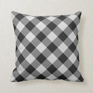 gingham checkers pattern black and white pillow