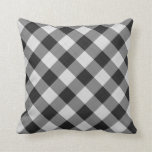 gingham checkers pattern black and white pillows
