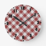 gingham checkers pattern red and white round clock