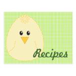 Gingham Chicken Recipe Postcard