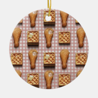 gingham chicken waffles ceramic ornament