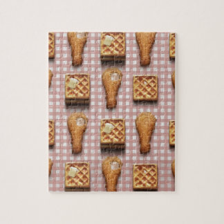 gingham chicken waffles jigsaw puzzle