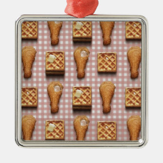 gingham chicken waffles metal ornament