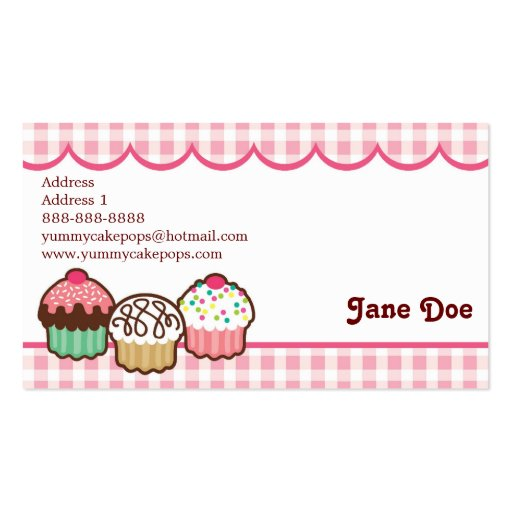 Gingham Cupcakes Business Cards (back side)