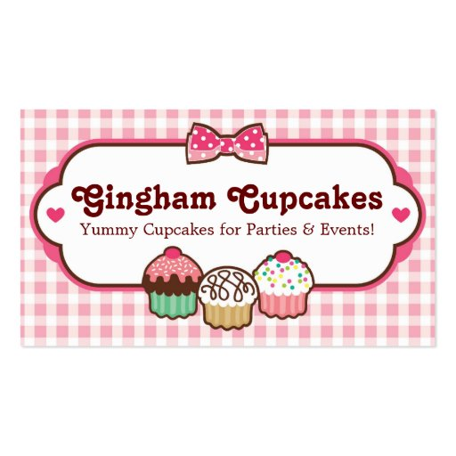 Gingham Cupcakes Business Cards (front side)