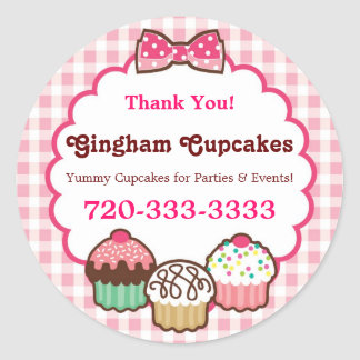 Gingham Cupcakes Stickers