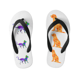 Gingham Dog And Calico Cat Kid's Flip Flops