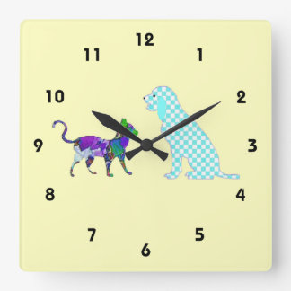Gingham Dog And Calico Cat Square Wall Clock