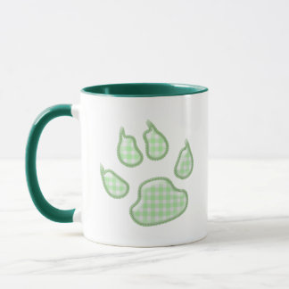 gingham dog paw - green mug