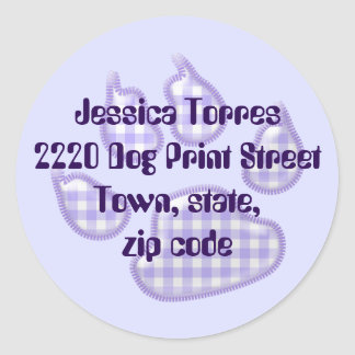gingham dog paw - purple classic round sticker