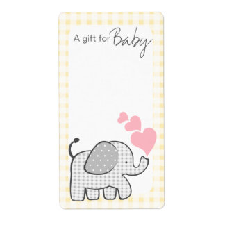 Gingham Elephant Book Tags Label