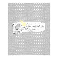 Gingham Elephant Candy Bar Wrapper Favor Flyer