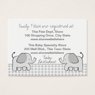 Gingham Elephant Gift Registry Card