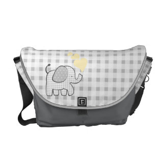Gingham Elephant Gray with Yellow Hearts Messenger Bags