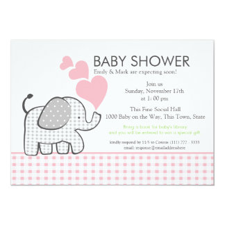 Gingham Elephant Pink Baby Shower 5x7 Paper Invitation Card