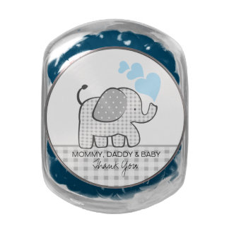 Gingham Elephant with Baby Blue Hearts Glass Jar