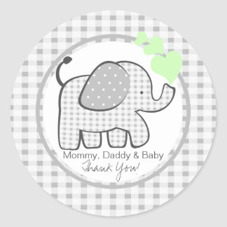 Gingham Elephant with Green Hearts Classic Round Sticker