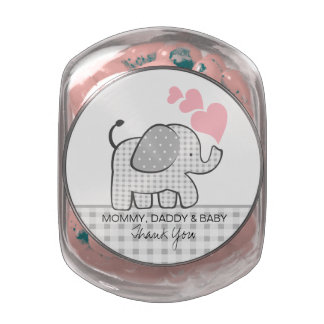 Gingham Elephant with Hearts Jelly Belly Candy Jar