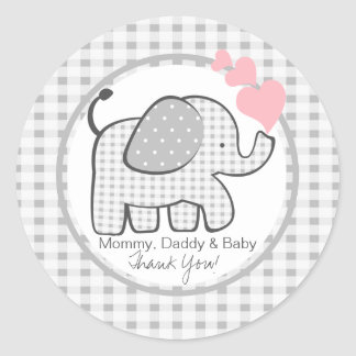 Gingham Elephant with Hearts Classic Round Sticker