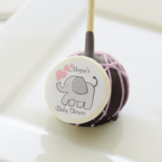 Gingham Elephant with Pink Hearts Cake Pops