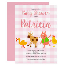 Gingham Farm Animal Baby Girl Shower Invitation