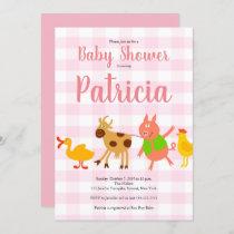 Gingham Farm Animal Baby Girl Shower Invitation
