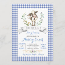 Gingham farm baby shower invitation