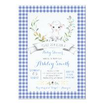 Gingham farm sheep baby shower invitation