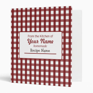 Gingham Food  Label 3 Ring Binder