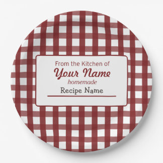 Gingham Food  Label Paper Plate