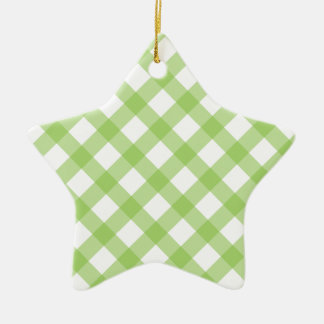 Gingham Green Pattern Christmas Tree Ornaments