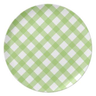 Gingham Green Pattern Dinner Plate