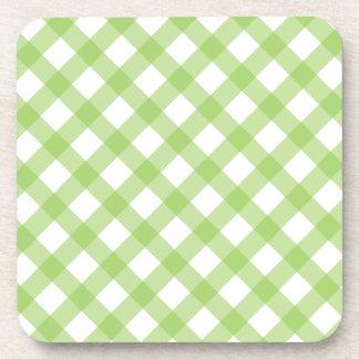Gingham Green Pattern Drink Coaster