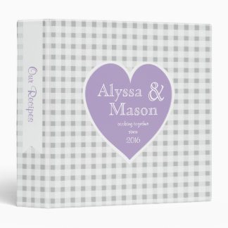 Gingham Grey Checker and Heart Lavender 3 Ring Binder