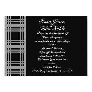 Gingham (Grey) Wedding Invitation