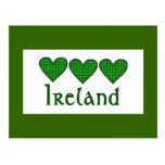 Gingham Hearts Ireland Post Card