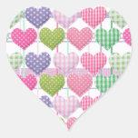 Gingham Hearts Pattern Heart Sticker