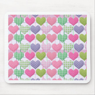 Gingham Hearts Pattern Mouse Pad