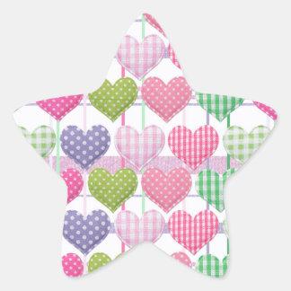 Gingham Hearts Pattern Star Sticker