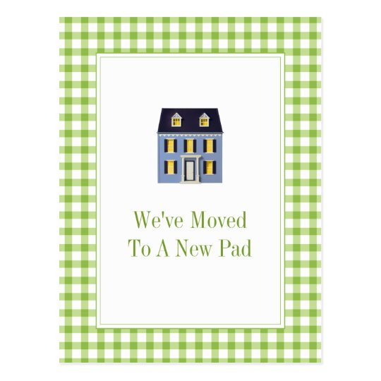 Gingham Home Moving Postcard
