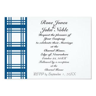 Gingham Ivory (Blue) Wedding Invitation